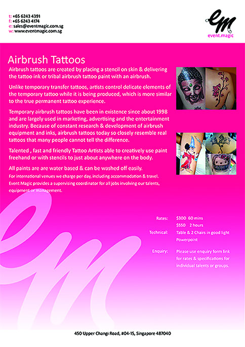 Airbrush tattoo for hire Singapore. Airbrush tattoo Artist Singapore