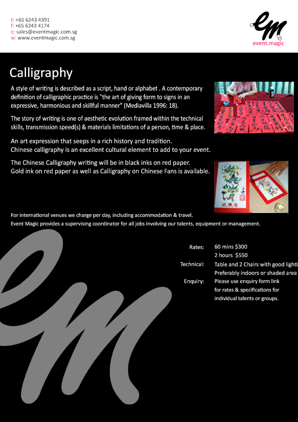 Calligraphy for hire Singapore, Singapore Calligraphy Artist for hire, Roving artists