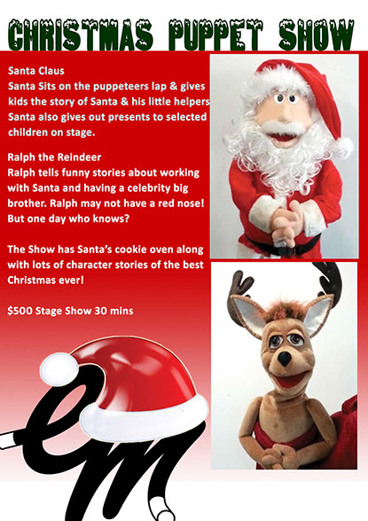Christmas Puppet Show, Santa Claus, Caroll Singers, Toy Soldiers, Bell Ringing, Christmas Performers for hire