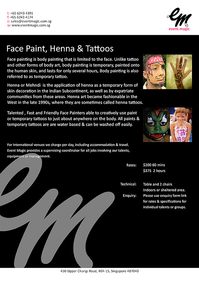 Pace Painting for hire Singapore, Singapore Face Painting and Henna Tattoos, Face Painting