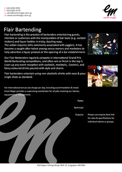 Flair Bartender for hire Singapore, Singapore Bartender for hire