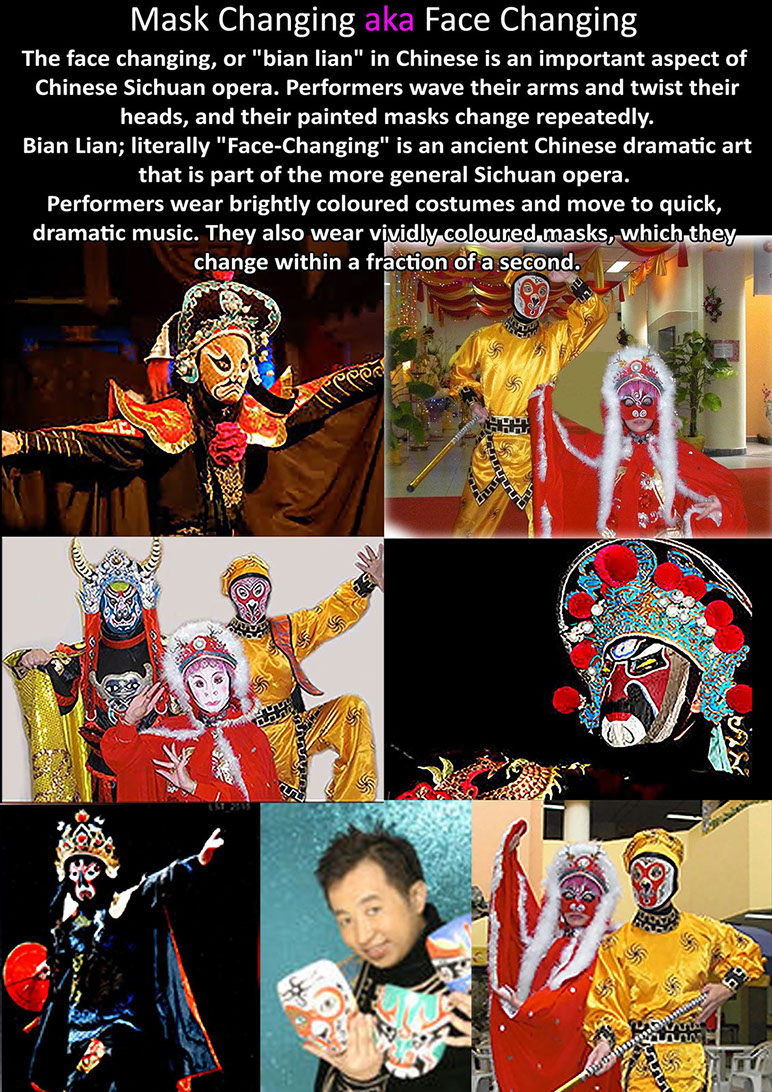 Mask Changing performing Artists, Mask Change, face changing, Bian Lian Performers for hire Singapore, Mask and Costume Change Stage Acts, CNY