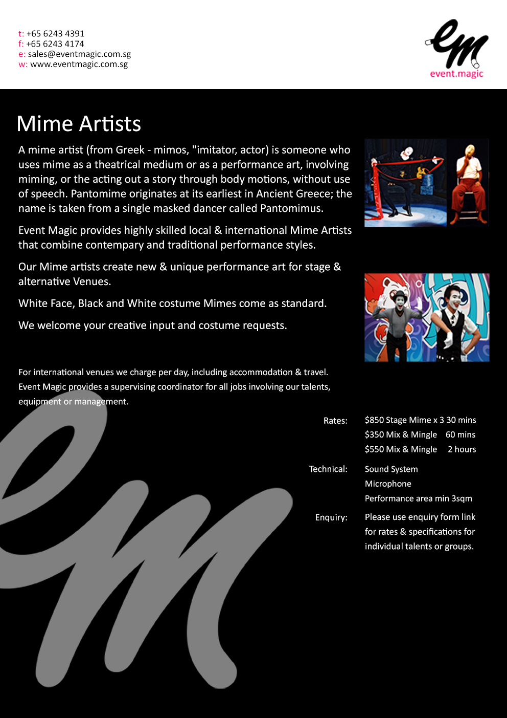 Mime Artist for Hire Singapore, mime Singapore, Le Mimic, Gophi Mime Singapore, Mime acts Singapore, Mime for hire Singapore, Mime Artists Singa