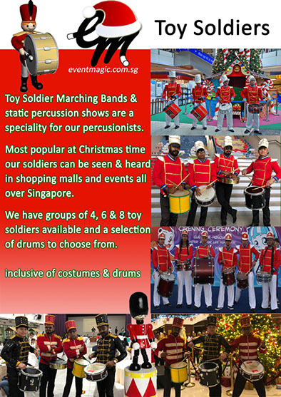 Toy Soldiers Drumming, Christmas entertainmnet, little drummer boy christmas characters, soldier drumming. Christmas acts for hire.