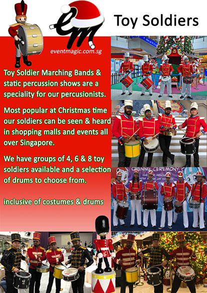 Toy Soldiers Drumming,  Santa Claus, Caroll Singers, Toy Soldiers, Bell Ringing, Christmas Performers for hire