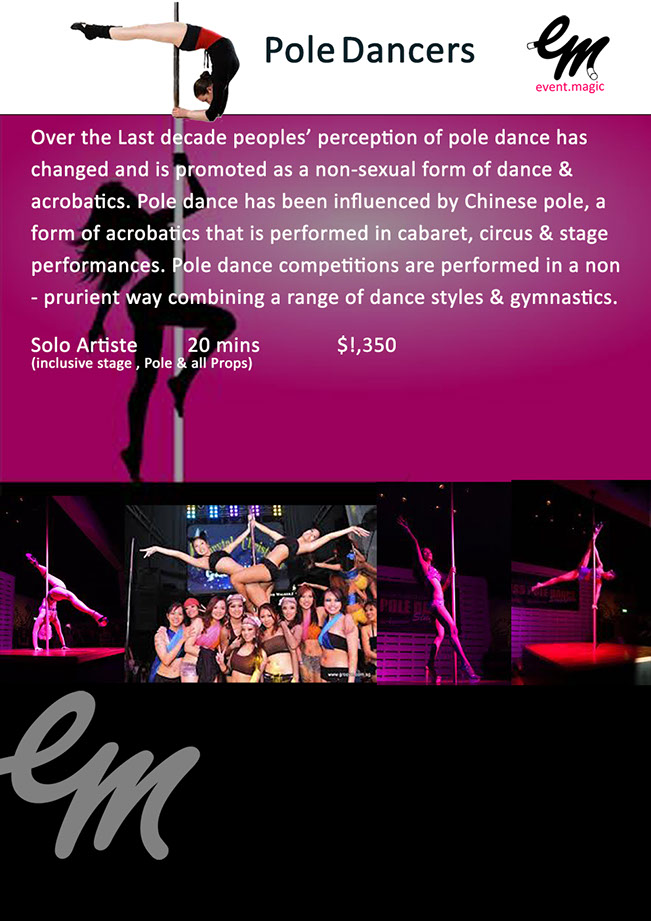 Pole Dancer for hire Singapore, Pole dancing Singapore, Pole acrobat Singapore,