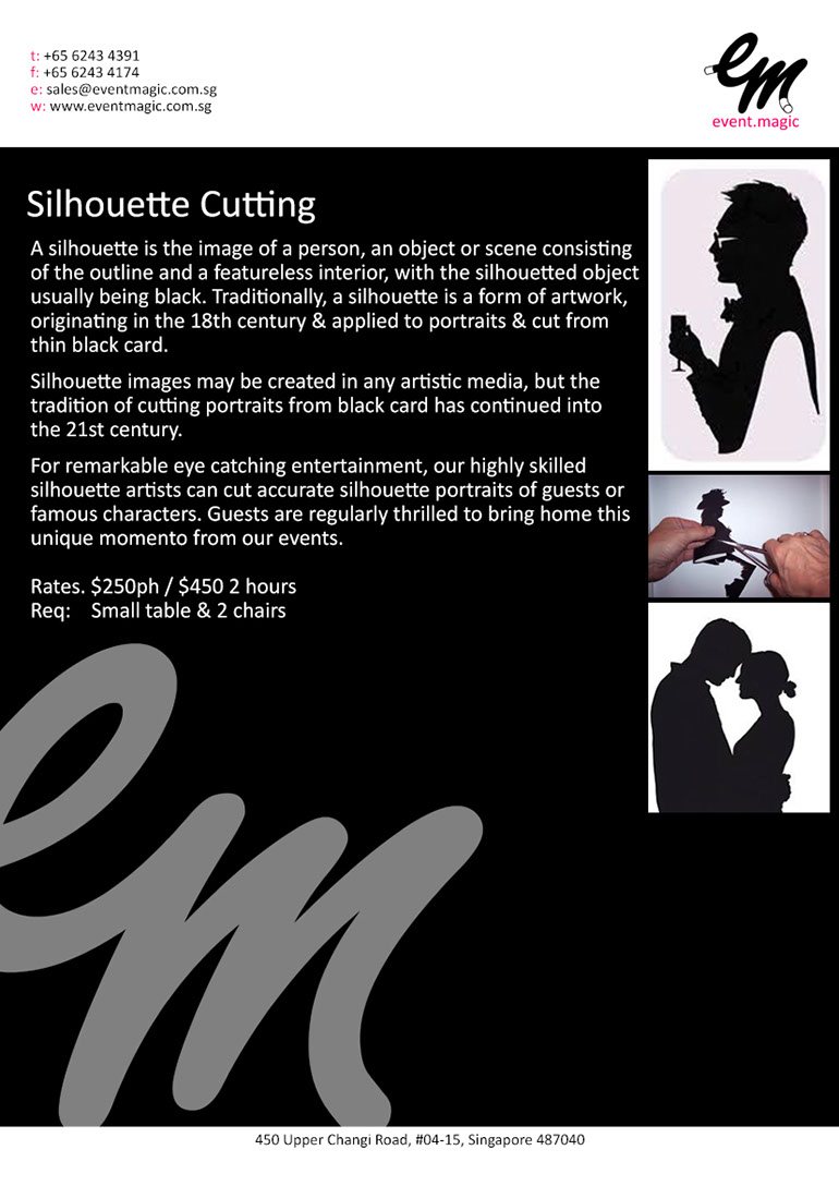 Silhouette Cutting for hire Singapore,