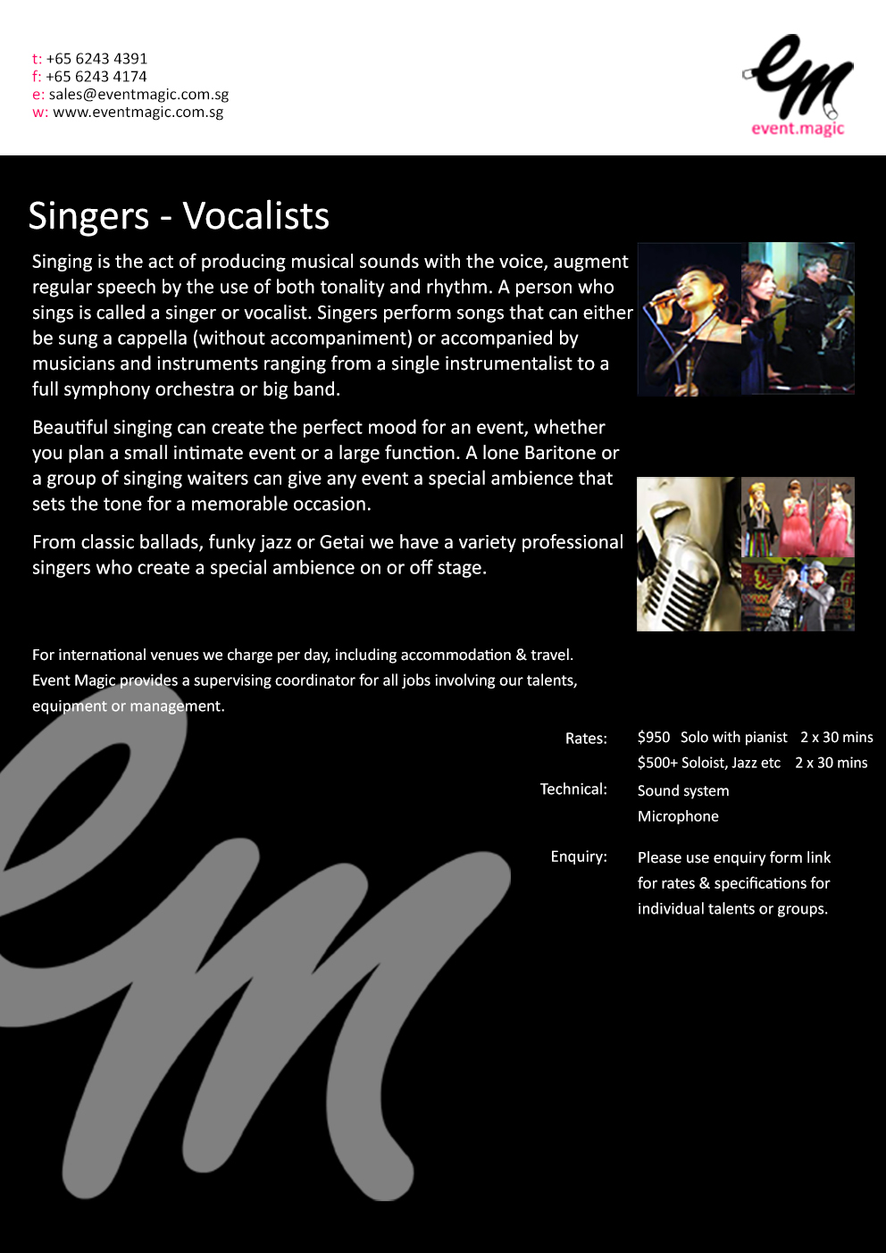 Singers for Hire Singapore, Choir for hire Singapore, Vocalist for hire Singapore, Acapella Singapore Singers,